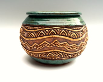 Lidded Stoneware Bowl - Hand Carved Zig-Zag Triangles - Original & Highly Textured - Blue Green Turquoise Brown Tan - Knick Knack - Chevron