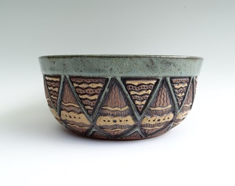 Hand Carved Stoneware Serving Bowl • Sage Green, Brown, Tan, Gold • Triangle Aztec • Rustic Unique • Wheel Thrown