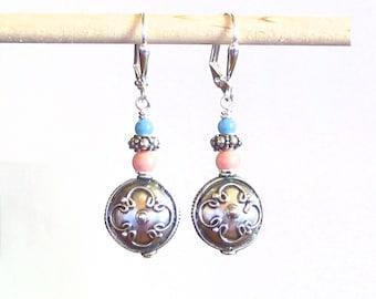 Sterling Silver Turquoise Coral Swarovski Pearl Dangle Earrings, Bali Earrings, Leverback Earrings, Clip On Earrings, Women's Jewelry
