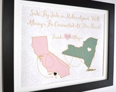 Sisters Maps: Long Distance Friend Moving Gift Soul Mate Friends Bday Cute Present Besties BFF Best Friend Quote Friendship Custom Art Print