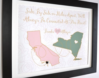 Sisters Maps, Long Distance Friend Moving Gift Soul Mate Friends Bday Cute Present Besties BFF Best Friend Quote Friendship Custom Art Print