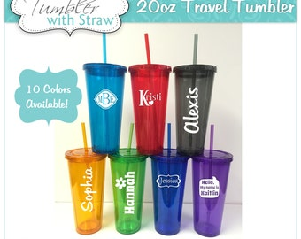 5 Personalized Travel Tumblers with Straw Bridesmaid Gifts Colors to Match your Wedding