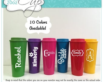 6 Personalized Travel Mugs Bridesmaid Gifts 2 Go 20 oz  in Colors to Match your Wedding