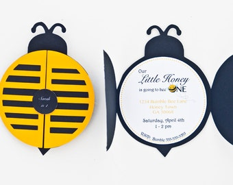 Set of 12+ Bumble Bee Party Invitation, Bumble Bee 1st Birthday Party, Bumble Bee Invitation, C008