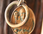Vintage Bronze Monk & Skull Necklace with Antique African Ring
