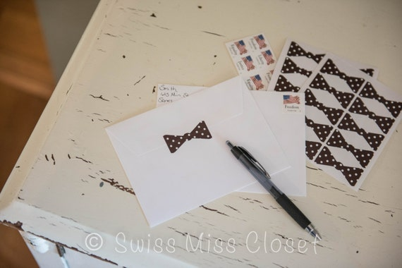 25 2 inch Polka Dot Brown Bow Tie Stickers, Envelope Seals, Party Favors, Party Glasses, Unlimited Possiblities
