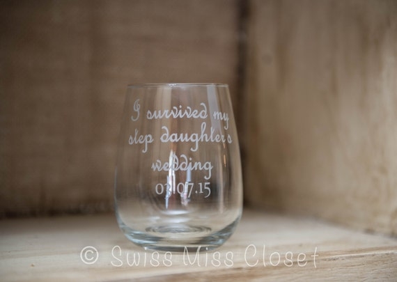 Custom Etched Quote Stemless Wine Glasses Wedding Anniversary