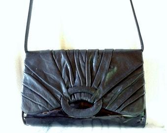 Vintage Leather 80s Rouche Purse from La Borsa