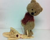 "TABETHA, 6""  Alpaca Bear wearing a beautiful Mohair jumper with her best friend Honey Bunny"