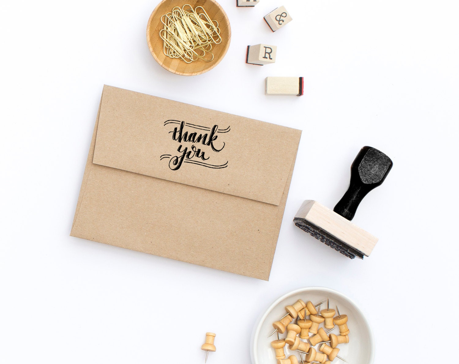 Thank You Stamp Rubber Stamp Calligraphy Stamp Hand