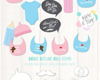 baby shower photobooth props printable instant download baby