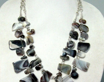 Botswana Agate, Pewter, and Crystal Necklace - Botswana Agate Two Strand Necklace - Botswana Agate Statement Necklace