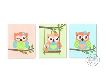 Coral and Aqua Owl Nursery Decor - Owl Prints Wall Art - Set of Three Prints - Baby Girl Room Decor Owl Nursery Art