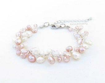 White and pink freshwater pearl bracelet on silk thread, white pink bracelet, wedding jewelry, bridesmaid bracelet