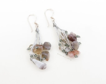 Silver gray agate stone earrings with crystal on silk thread, sterling silver ear wires, dangle