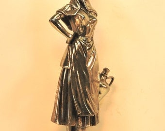 Vintage Moroccan Water Girl Statue Hollywood Regency Silver Statue Boho Silvered Statue