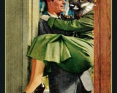 BIG Fridge Magnet Honeymoon Fox, original collage, Husband carries Foxy Bride over the threshold,
