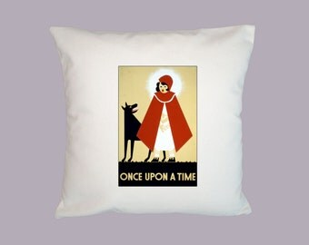 Once Upon A Time, Red Riding Hood, Art Deco Vintage Illustration HANDMADE 16x16 Pillow Cover, Choice of Fabric