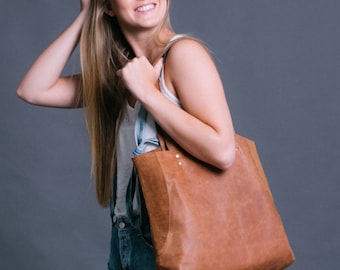 Brown Leather Tote - Leather Shoulder Bag - Tote Bag - Brown Leather Bag with Magnetic closure - Soft Leather - Handmade Leather Bag