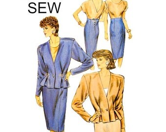 High Waist Pencil Skirt Sewing Pattern Size 14 16 18 20 Plus Size Collarless V Neck Jacket Drawstring Lacing Kwik Sew 1637 Uncut FFolds