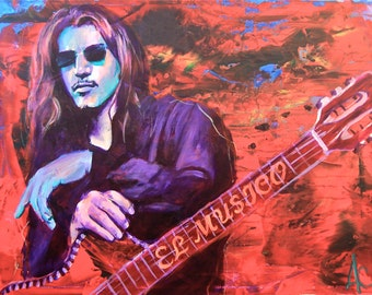 "Henry Garza 12""x18"" Poster Los Lonely Boys Musician Guitar Celebrity Print Wall Art Colorful Abstract Pop Art"