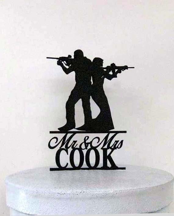 Personalized Wedding Cake Topper - Rifle, Gun wedding with Mr & Mrs ...