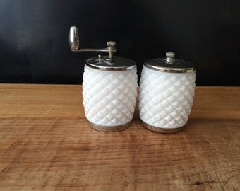 Pair of Retro Milk Glass Hobnail Salt and Pepper Shakers
