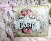 Paris CARTE POSTALE Pillow, French script ,Pink roses Postcard, French Script Pillow, Shabby Pillow