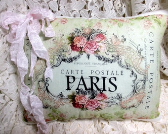 Paris CARTE POSTALE Pillow, French script ,Pink roses Postcard, French Script Pillow, Shabby Pillow  #C46