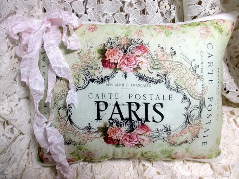 Paris CARTE POSTALE Pillow French script Pink roses
