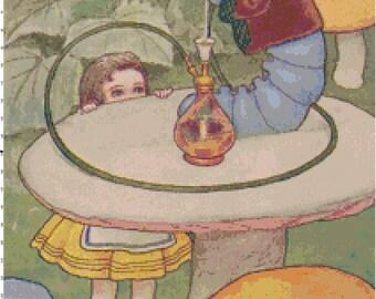 Vintage Alice in Wonderland with Smoking Caterpillar M.L. Kirk Fan Art PDF Cross Stitch Pattern