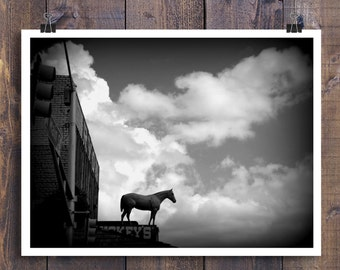 Fort Worth Pictures, Black and White Art, Fort Worth Photo, Stockyards, Rustic Wall Decor, Rustic Wall Art, Texas Art, Rustic Office Decor