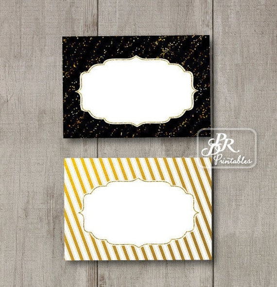 Black And Gold Tent Cards Buffet Labels Printable Gift