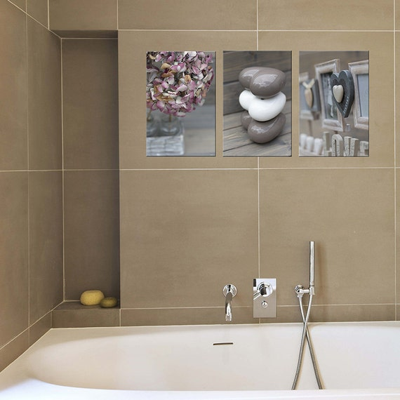 Bathroom Pictures And Canvases : Bathroom decor set of prints canvas art by