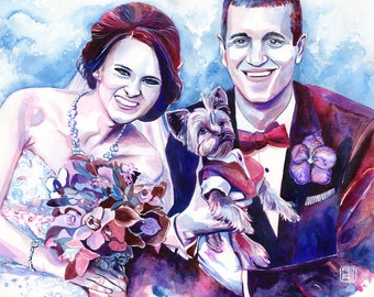 COUPLE with DOG CUSTOM portrait special wedding gift for couple, couple portrait, anniversary gift, wedding with dog