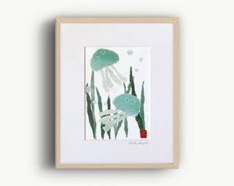 Jellyfish Art, Seaweed Art, Nautical Decor, Coastal Decor, Sea Creatures Art