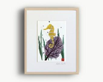 Seahorse Art, Sea Fan Art, Nautical Decor, Coastal Decor, Seahorse Wall Decor