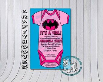 batman superhero bat wonder shower it 39 s a girl party invitations u