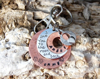 Personalized Pet Memorial Keychain, Personalized Pet Memorial Necklace, I Love You to the Moon and Back, Paw Prints on My Heart Mirror Charm