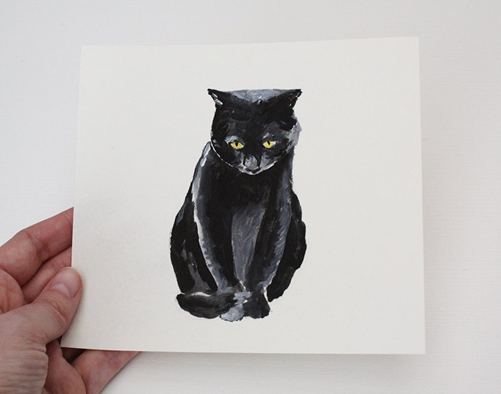 Sad Black Cat Etsy Original Drawing For The Wall