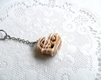 Cinnamon Bun Heart Phone Charm, Dust Plug or Cell Phone Strap, Kitsch Tiny Cinnamon Rolls, Cute And Kawaii :D