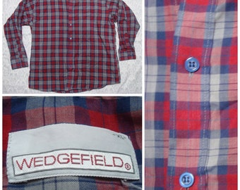 Vintage Retro Men's Wedgefield Blue Red White Plaid Buttonup Long Sleeve Shirt Cotton XL