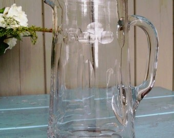 Victorian hand blown and cut glass water pitcher / jug