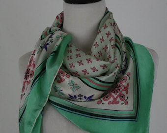 1950s Mint Green and Pink Sequined Large Square Silk Scarf by Specialty House