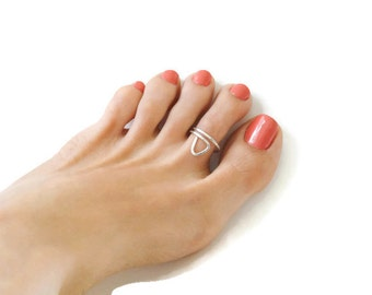 Sterling Silver Toe Ring Geometric Jewelry Hammered Adjustable Ring For Women