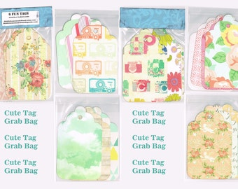 Cute tag grab bag, paper tags for snail mail, scrapbooking, planners, paper crafts, journals, 5-inch tall. Floral, chevron, cameras, paisley