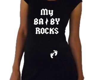 "Maternity Funny "" My Baby Rocks"" Maternity Shirt- Black A181"
