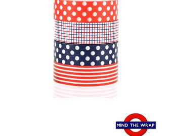 mt Red White and Blue Washi Tape Set - 4 rolls - Classic Polka Dots Stripes Checks - Patriotic Colors