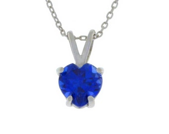 1 Carat Blue Sapphire Heart Pendant .925 Sterling Silver Rhodium Finish White Gold Quality