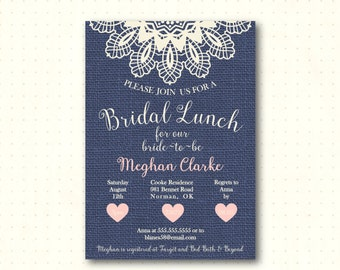 Bridal Shower Invitation, bridal tea, brunch, lunch, burlap, bride to be, lace, navy, pink, simple, modern, digital printable invite BW42851